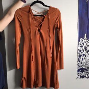 Lace Up Dress - Orange
